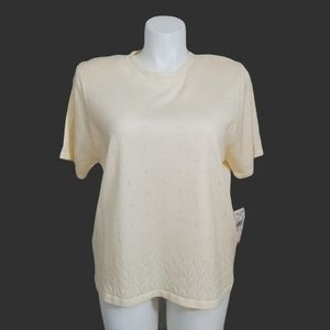 NWT Alfred Dunner Ivory Shimmery Boxy Crochet Top